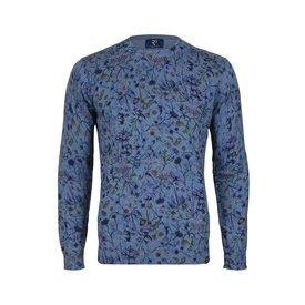 R2 Blauw bloemenprint katoenen pullover.