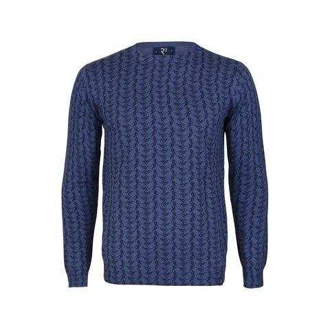 Baumwollpullover mit blauem Kranichedruck.