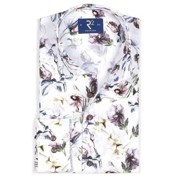 R2 Wit bloemenprint katoenen overhemd.