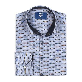 R2 Kids light blue car print cotton shirt.