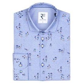 R2 Kids light blue football print cotton shirt.