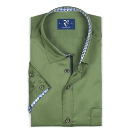R2 Korte mouwen groen katoenen overhemd.