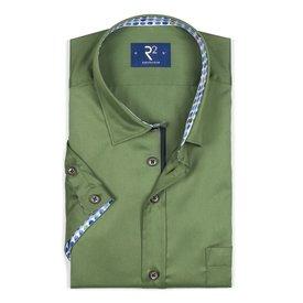 R2 Short sleeve green cotton shirt.