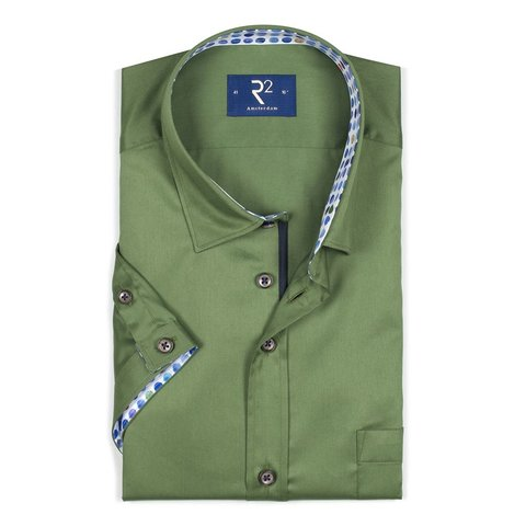 Korte mouwen groen katoenen overhemd.