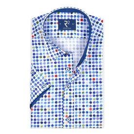 R2 Kurzärmeliges weißes Punktedruck Baumwollhemd.