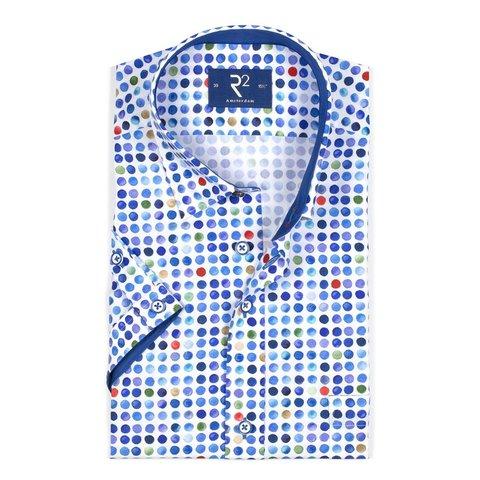 Kurzärmeliges weißes Punktedruck Baumwollhemd.