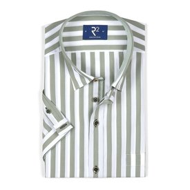 R2 Short sleeved white green striped cotton shirt.