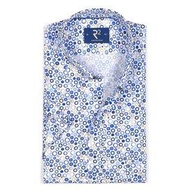 R2 Short sleeved white polka dot print cotton shirt.