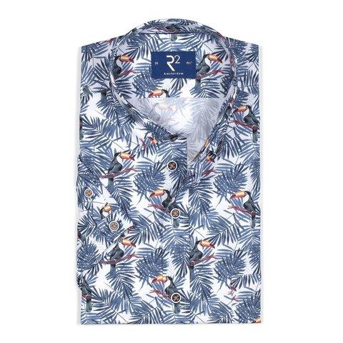 Korte mouwen palmbladeren en toekanprint katoenen overhemd.