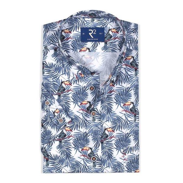 R2 Korte mouwen palmbladeren en toekanprint katoenen overhemd.