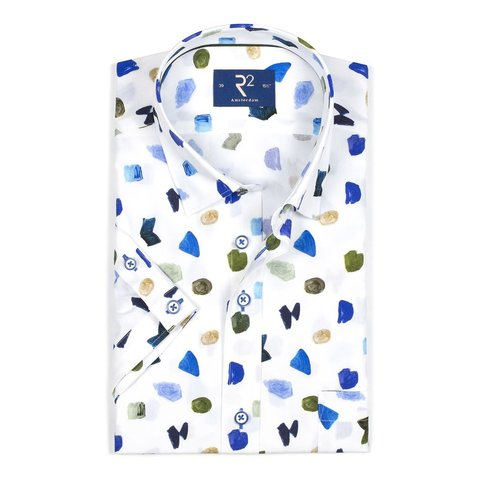 Korte mouwen wit abstracte print katoenen overhemd.