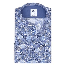 R2 Baumwollhemd mit königlichem Blaudruck