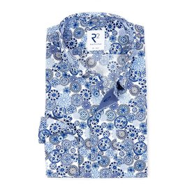 R2 White graphic print cotton shirt with chest pocket.