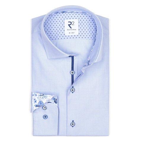 Lichtblauw dobby dessin katoenen overhemd.