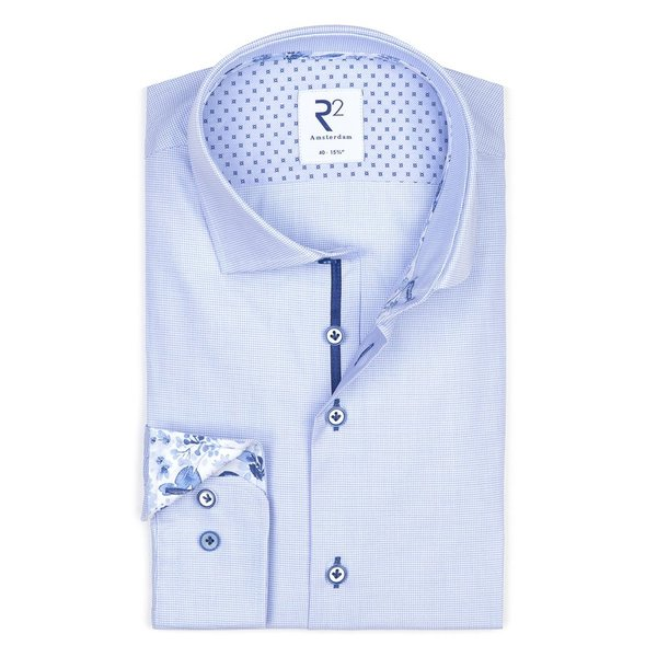 R2 Lichtblauw dobby dessin katoenen overhemd.