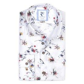 R2 White flower print linen/cotton shirt.