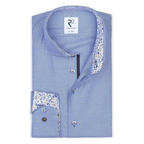 R2 Blauw Pied-de-poule katoenen overhemd.