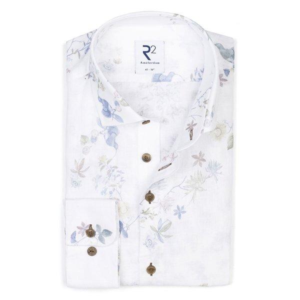 R2 Wit bloemenprint linnen overhemd.