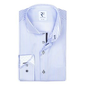 R2 White and blue striped cotton shirt.