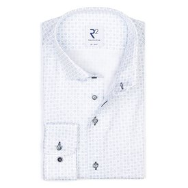 R2 White cotton shirt printed with blue circles.