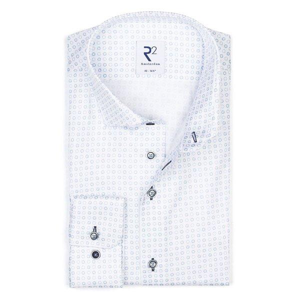 R2 Weiß mit blauen Kreisen bedrucktes Baumwollhemd.