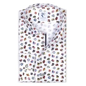 R2 White cotton shirt with multicoloured racing helmet print.