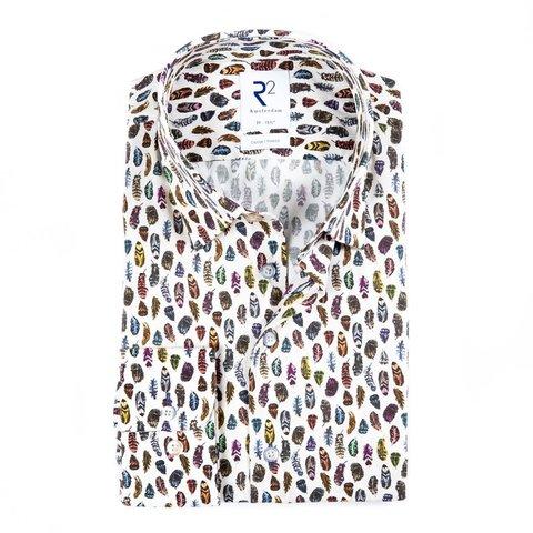 Baumwollhemd mit weißem Federprint.
