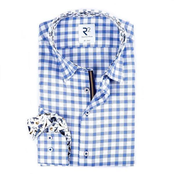 R2 Wit blauw geruit Royal Oxford katoenen overhemd.