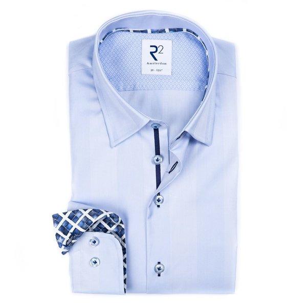 R2 Lichtblauw 2 PLY Herringbone katoenen overhemd.
