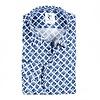 Weiß-blaues Baumwollhemd mit grafischer print.
