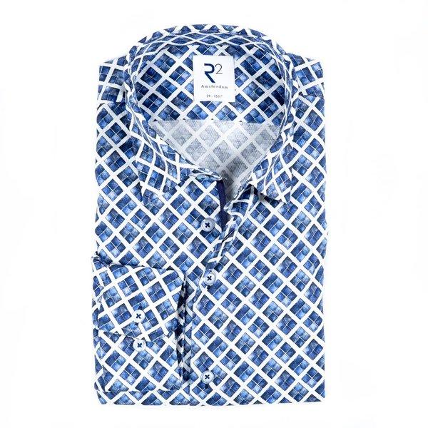 R2 Weiß-blaues Baumwollhemd mit grafischer print.