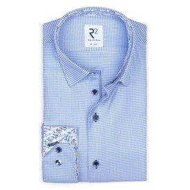 R2 Blauw Pied-de-poule 2 PLY katoenen overhemd.