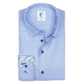 R2 Blue Pied-de-poule 2 PLY cotton shirt.