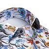 Grey floral print organic cotton shirt.