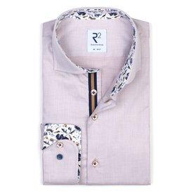 R2 Beige Herringbone cotton shirt.