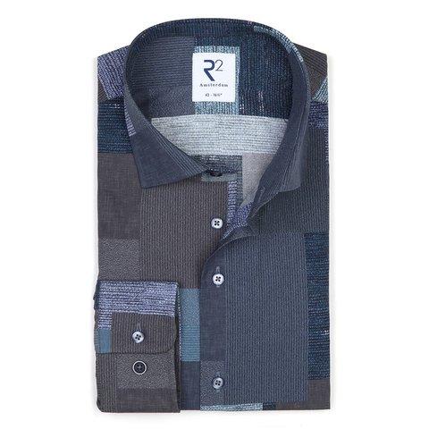 Blauw patchwork print katoenen overhemd.