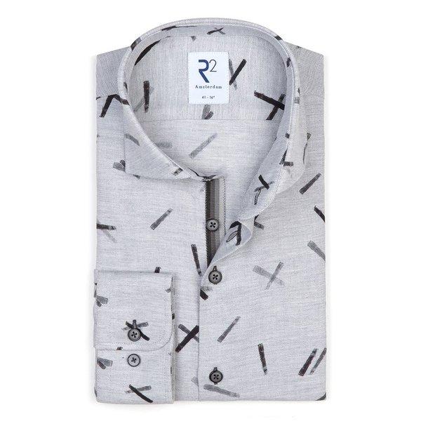 R2 Grauer grafischer print. Baumwollhemd aus Flanell.