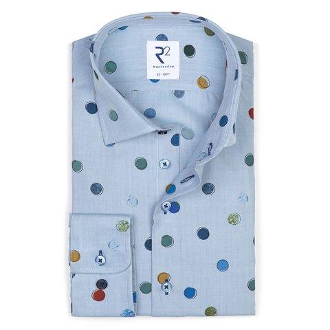 Blauw cirkelprint katoenen overhemd.