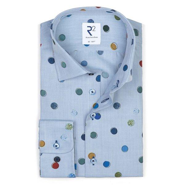 R2 Blau Kreisenprint Baumwollhemd.