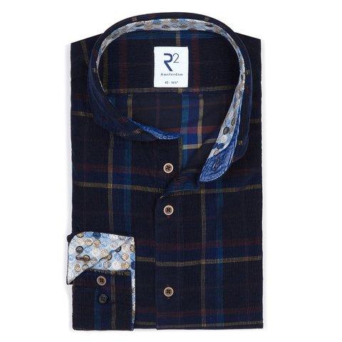 Donkerblauw geruiten Corduroy overhemd.