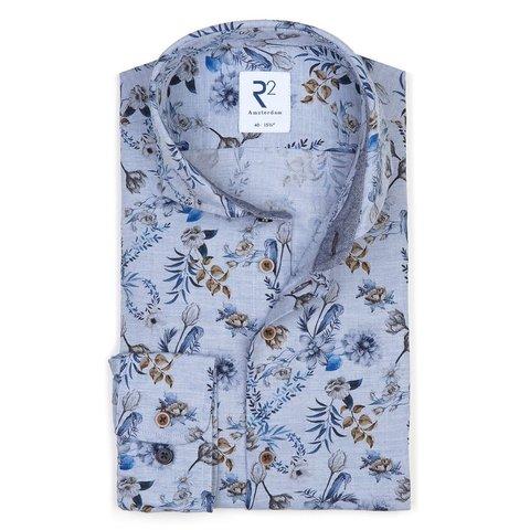 Blauw bloemenprint Flanel katoenen overhemd.