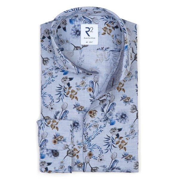 R2 Blauw bloemenprint Flanel katoenen overhemd.