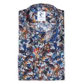 R2 Multi-coloured animal print cotton shirt.