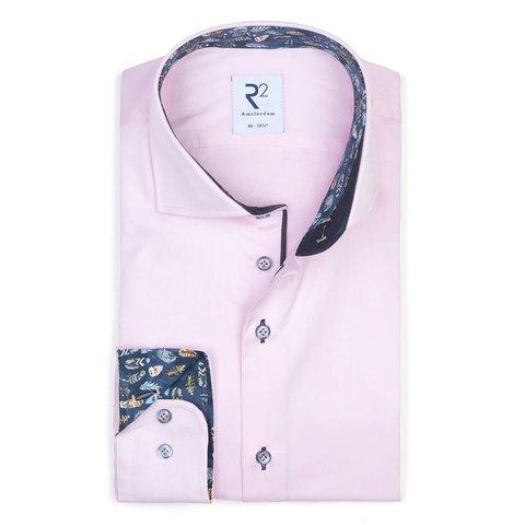 Licht roze 2 PLY katoenen overhemd.