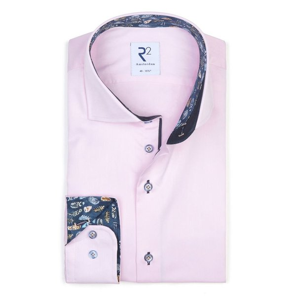 R2 Licht roze 2 PLY katoenen overhemd.