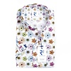 Korte mouwen wit bloemenprint katoenen overhemd.