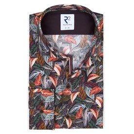 R2 Bordeaux bladerenprint katoenen overhemd.