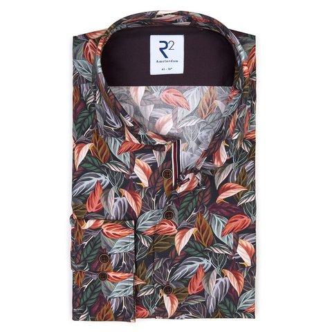 Bordeaux bladerenprint katoenen overhemd.