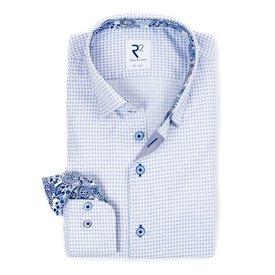 R2 Lichtblauw mini-ruit katoenen overhemd met borstzak.
