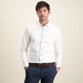 R2 White mini print cotton shirt with chest pocket.